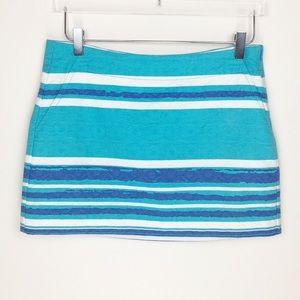 Trina Turk Blue & White Striped Skirt